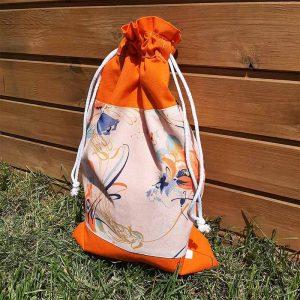 kenyeres zsák narancssárga virágos
