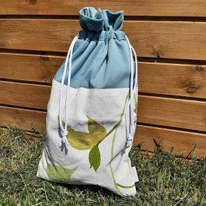 kék fehér zöld leveles kenyeres zsák
